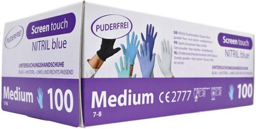 Handschoen Budget nitril poedervrij maat M blauw