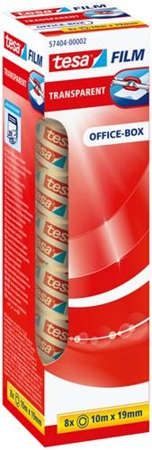 Plakband Tesa film 19mmx10m transparant 8 rollen