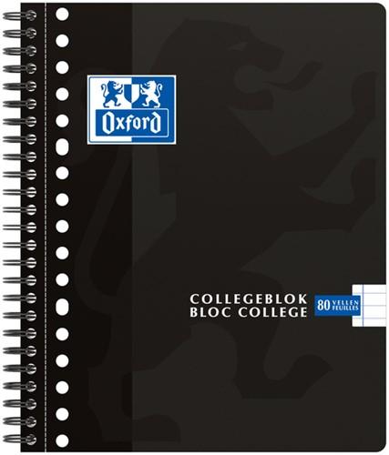 Collegeblok Oxford School A5+ 17-gaats 80vel lijn zwart