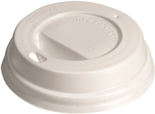 Bekerdeksel Ø70mm met drinkgat wit 100 stuks