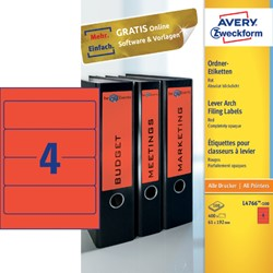 Rugetiket Avery breed 61x192mm zelfklevend rood