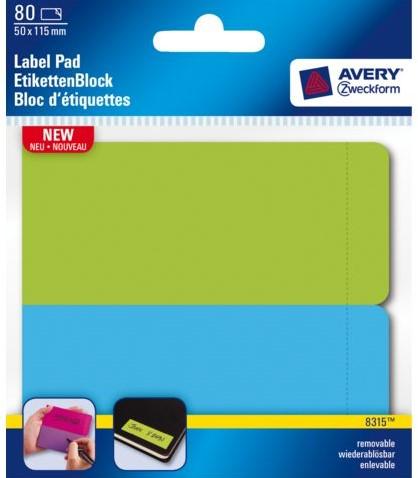 etiket avery zweck 8315 50x115mm blauw groen 80 stuk bij kantoor en