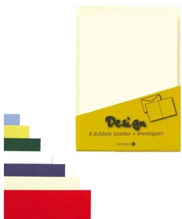 Dubbele kaarten +enveloppen Papyrus 114x162mm ivoorwit