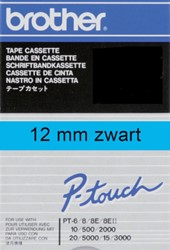 Labeltape Brother P-touch TC501 12mm zwart op blauw