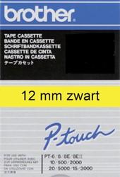 Labeltape Brother P-touch TC601 12mm zwart op geel