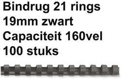 Bindrug Fellowes 19mm 21rings A4 zwart 100stuks