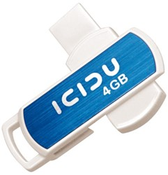 USB-STICK ICIDU FD PIVOT 2.0 4GB BLAUW WIT 1 STUK