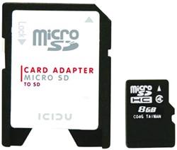 GEHEUGENKAART ICIDU MICRO SDHC 8GB + SD ADAPTER 1 STUK