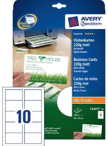Visitekaart Avery C32011 25 85x54mm 200gr 250stuks Bij Kantoor En Kopie