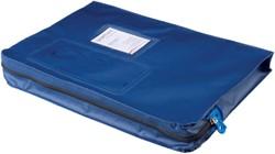 Verzendtas Recordpack met venster blauw