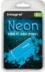 USB-stick 2.0 Integral 8GB neon blauw