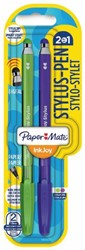 Balpen Paper Mate Inkjoy 100Cap Stylus blister groen en paar