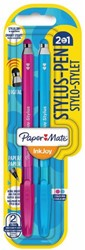 Balpen Paper Mate Inkjoy 100 Stylus blister roze en turquois