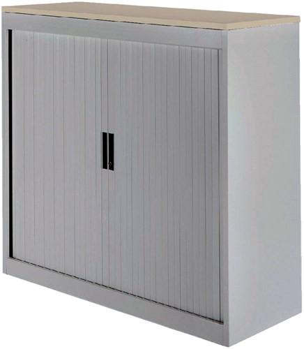 Roldeurkast 30H aluminiumlook met topblad eiken