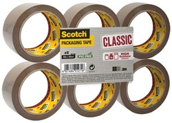 Verpakkingstape Scotch Classic 50mmx66m bruin 6 rollen