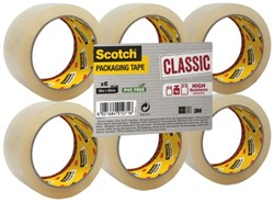 Verpakkingstape Scotch Classic 50mmx66m transparant 6 rollen