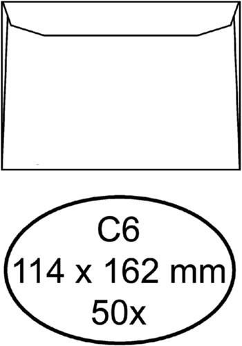 Envelop Hermes bank C6 114x162mm zelfklevend wit 50stuks