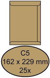 Envelop Clevermail akte C5 162x229mm 90gr bruin 25 stuks