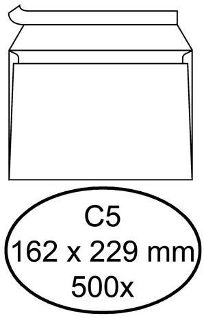 Envelop Hermes bank C5 162x229mm zelfklevend wit 500stuks