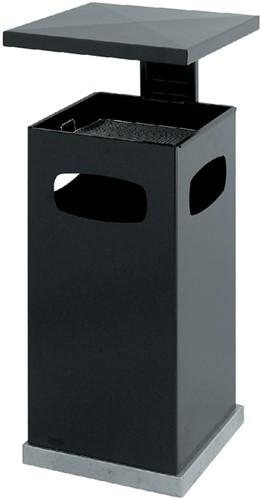As-papierbak met afdak metaal antraciet 39,5x39,5x91cm