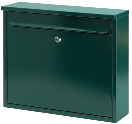 Wandbrievenbus metaal groen 36x10x32cm